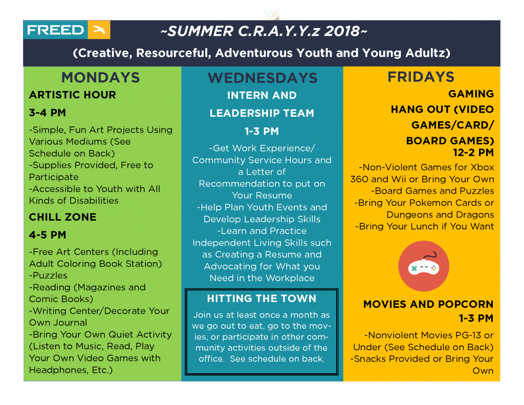 FREED Summer Youth Program 2018 with Full Calendar