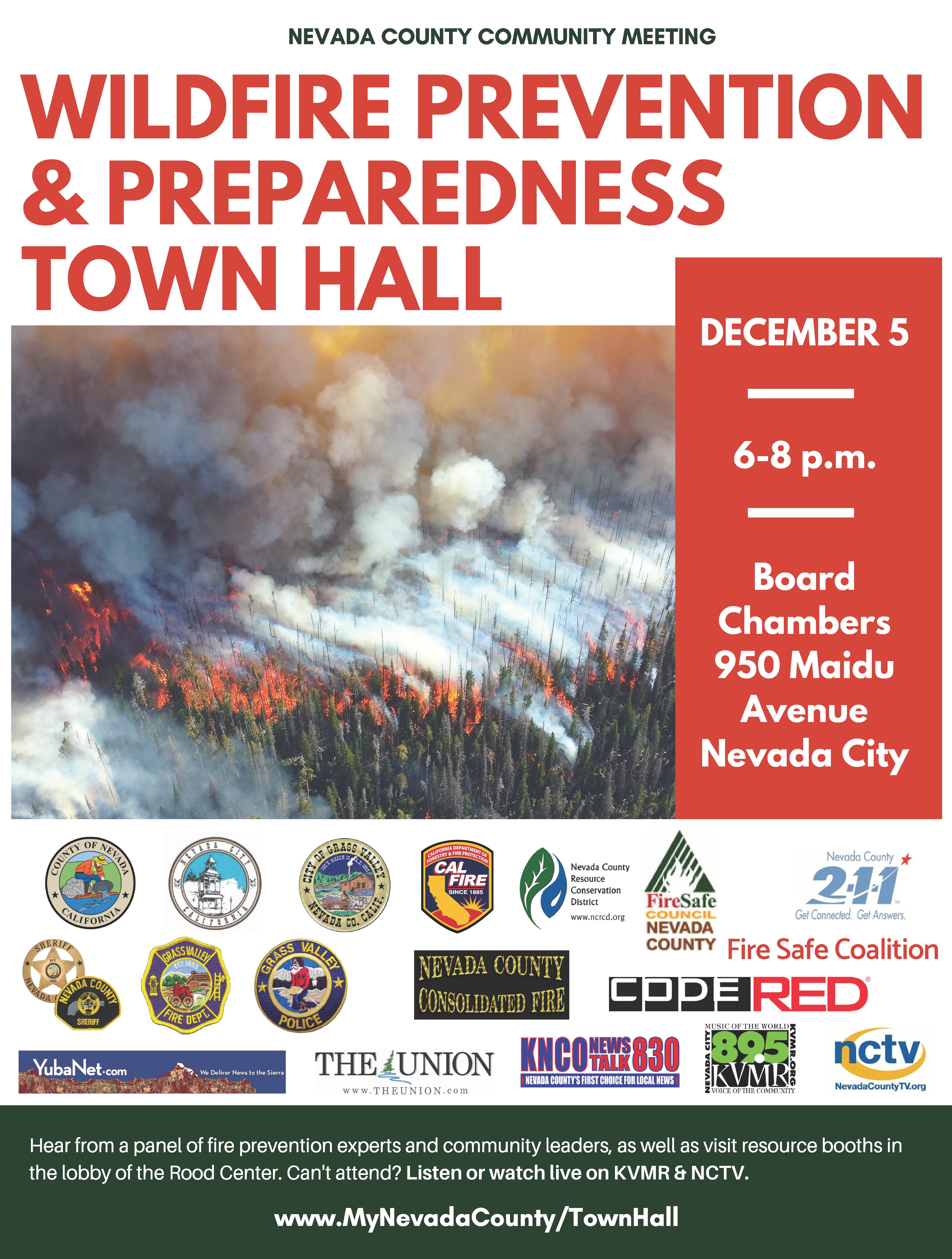 Wildfire Prevention and Preparedness Town hall flyer