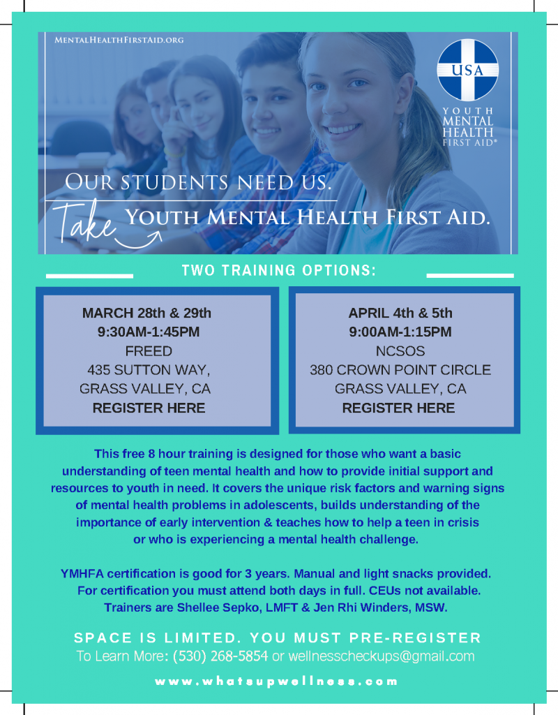 Flyer with details of the Youth Mental Health First Aid training