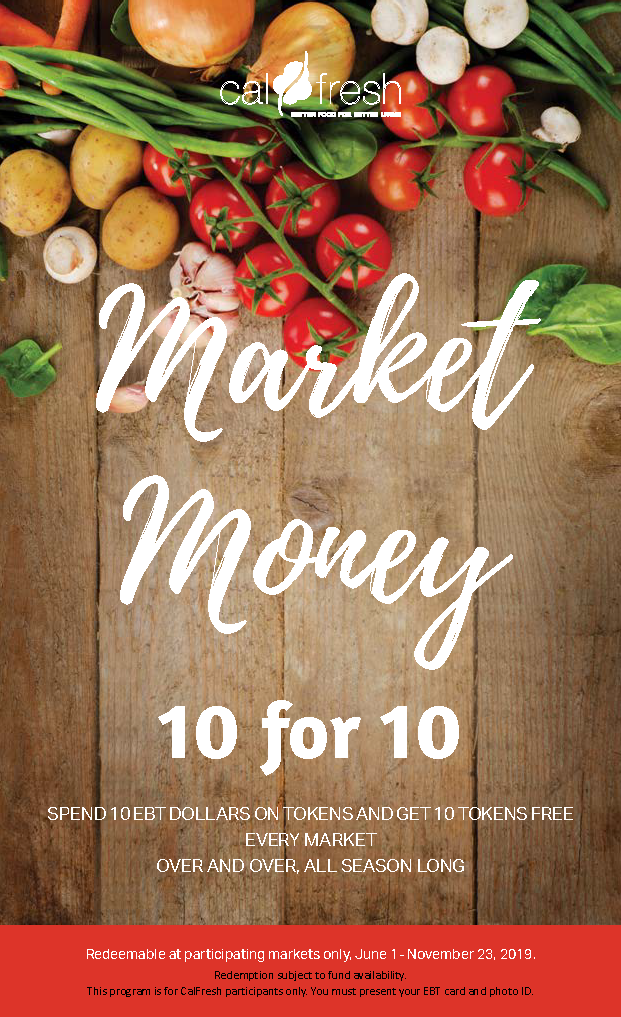 Market Money flyer, including images of fresh veggies on a table.