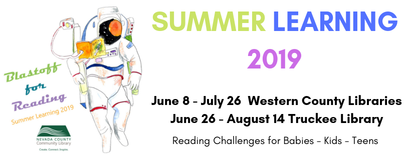 Drawing of an astronaut with Summer Learning dates