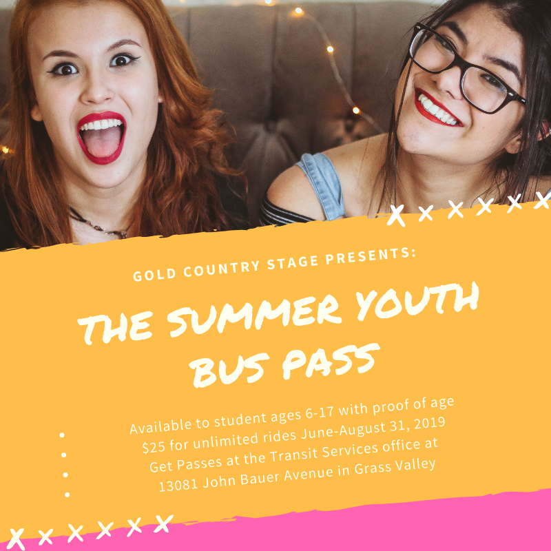 Image of two young women smiling at the camera. Text includes information about the Summer Youth Bus Pass.