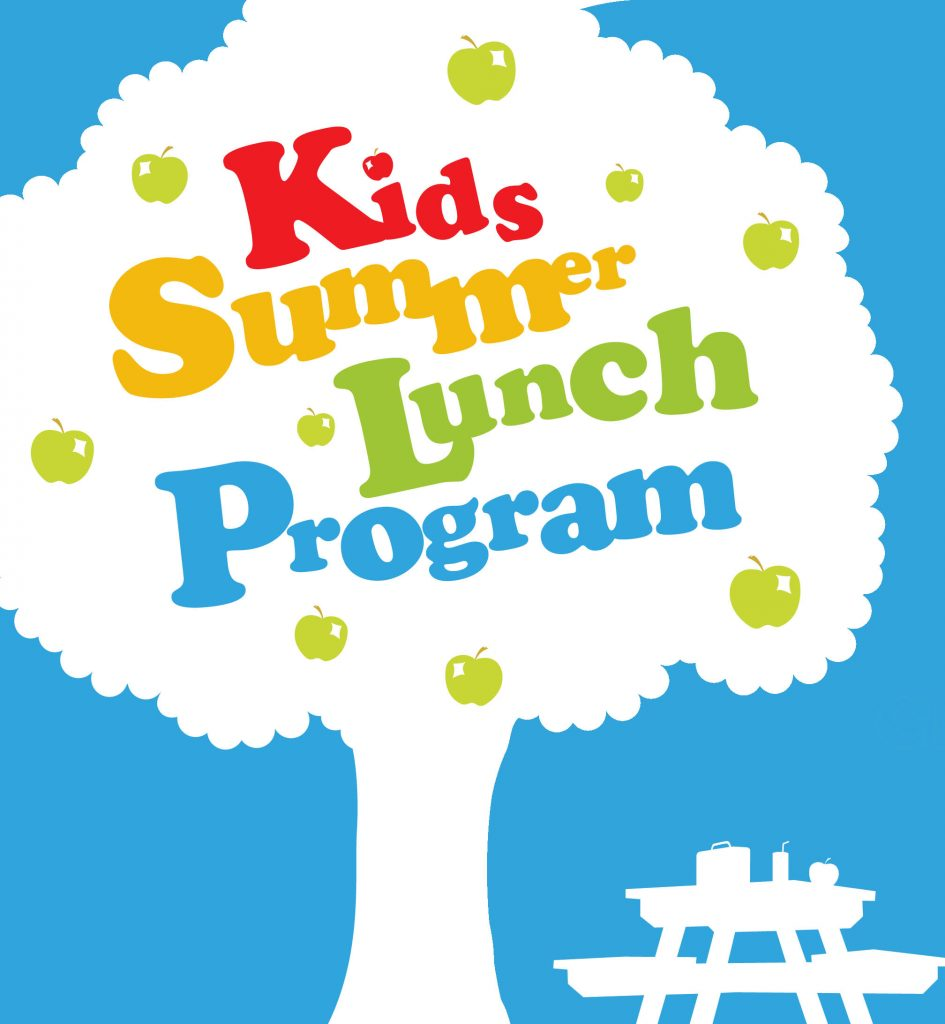 "Silhouette of a tree against a blue background. A picnic table is underneath. The text reads ""Kids Summer Lunch program."""