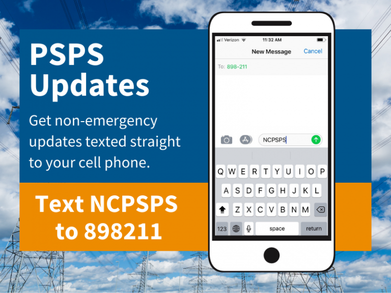 For PSPS Updates text NCPSPS to 898211