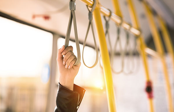 woman riding the bus